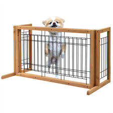 Indoor Pet Fence Gate Free Standing Adjustable Dog Gate Solid Wood Construction