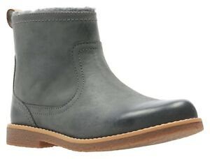 BNIB Clarks Comet Frost Girls Grey Leather Boots F/G Fitting