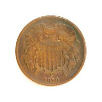 Raw 1870 Two Cent 2C Circulated US Mint Copper 2 Cent Coin
