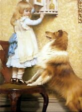 Large Art Print CHARLES BURTON BARBER SECRET PLACE Victorian Girl & Dog COLLIE