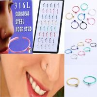 40pcs Nose Ring Open Hoop Lip Body Piercing Clip Studs Stainless Steel Jewelry