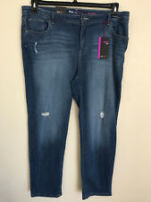 Style & Co Plus Sized Blue Washed Distressed Saint BOYFRIEND Jeans 22w