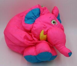 "Vintage 1994 Fisher Price Big Things Pink Elephant Nylon Plush 24"" Puffalump HTF"