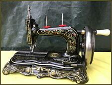 RARE ANTIQUE CLEMENS MULLER ~LA VOYAGEUSE 6~ SAXONIA HAND CRANK SEWING MACHINE