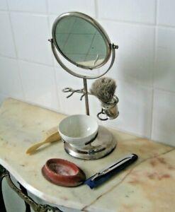 Ancien nécessaire de rasage - miroir double face ,blaireau ...