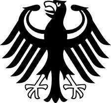 """2x Adesivi per auto, Sticker """"GERMANIA"""" Aquila (11 x 11 cm) taglio contorno"""