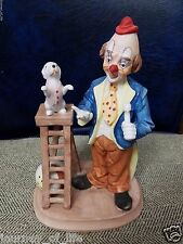 Arnart Porcelain Collectible Hobo Circus Clown Trained Puppy Dog Ladder Figurine