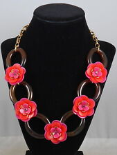 Kate Spade Gold Plated ROSY POSIES Pink Red Flower Studded Necklace $148