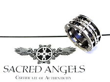 Men's Designer Eternity Double Row Black Diamond Rope Ring By Sacred Angels