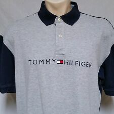 VTG Tommy Hilfiger Polo Shirt 90's Rugby Spell Out Colorblock Flag Lotus Mens XL
