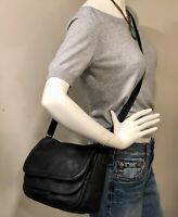 FOSSIL Peyton Large Double Flap Black Leather Cross Body Bag EUC! MSRP $379