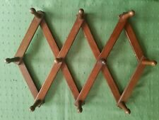 Vintage Wooden Accordion 13 Hook Wall Peg Mug Rack Expandable Hat Holder Sturdy