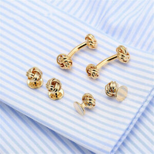 6pcs/Set Brass Mens Shirt Knot Cufflinks Stud Wedding Meeting Cuff Links Jewelry