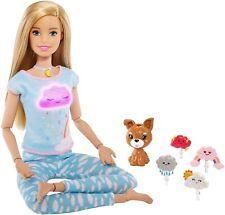 Barbie Breathe with Me Meditation Doll, Blonde Lights & Guided Yoga GMJ72