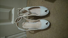 Womens Next Wedge Platform Size 5 cream suede open toe ankle strap with buckle