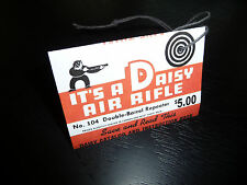 Daisy BB Gun Model 104 Air Rifle Double Barrel Shotgun Hang Tag-Repro Plymouth