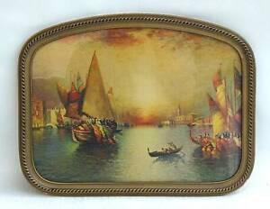 Vintage 1930's-40's Italian Print Gilt Frame  Boats Gloaming Sky Thomas Moran