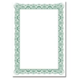 30 A4 Paper Plain Blank Certificates With Green Border and Foil Stickers