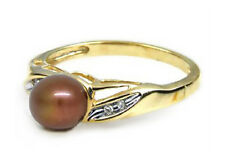 Pearl Ring 10K Yellow Gold Freshwater Chocolate Pearl & Diamond Accent Ring