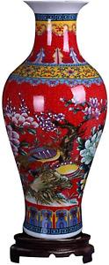 ufengke Jingdezhen Large Fishtail Ceramic Floor Vase,Flower Vase Handmade Home