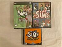 LOT OF 3: THE SIMS PC COMPUTER VIDEO GAME WITH 2 EXPANSION PACKS ~ D23