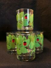 Double Old Fashioned Glasses w/ Green Leaf & Single Lady Bug Design Clear Glass