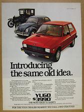 1986 Yugo GV red car VW Beetle & Ford Model T color photo vintage print Ad