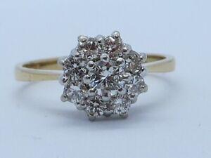 Exceptionnel Demi Carat Diamant Marguerite Bague En 18K or Jaune Taille K1/2