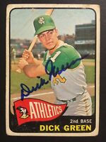 Dick Green Athletics A's Signed 1965 Topps Baseball Card #168 Auto Autograph 2
