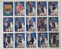 Match Attax UEFA Champions Soccer Cards - Barcelona Team Set incl shiny Messi