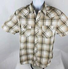 Canyon River Blues Mens Button Front Shirt Sz M Med Snap Button Brown Plaid
