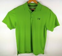 Men's Green Under Armour Loose Fit Heat Gear Short Sleeve Golf Polo Shirt Medium