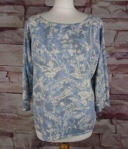PER UNA Marks and Spencer blue floral bird patterned jumper size 14