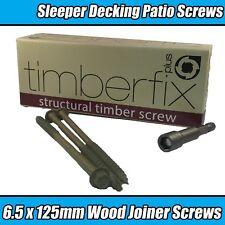 6.5 mm x 75 mm Index Hex Vis à bois Timber Fix Lock Railway Wagon-Lit de terrasse terrasse