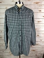 LL Bean Plaid Shirt L Tall Button Front Blue Green Check Cotton Wrinkle Free Kk