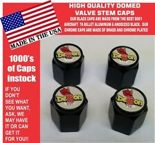 4 Domed Aluminum Plymouth Mopar Dodge Demon Valve Stem Caps NO ABS Plastic