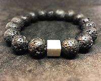 Lava 925er sterling Silber Armband Bracelet Perlenarmband schwarz 12 mm