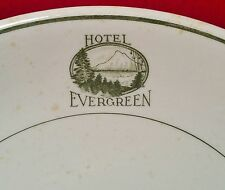 HOTEL EVERGREEN vtg restaurant puget sound mt rainier seattle portland art plate