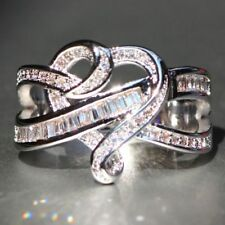 4.2CT White Topaz Infinity 925 Silver Ring Jewelry Wedding Engagement Size 6-10