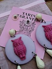 Tarina Tarantino Earrings Awesome Collection Owl Disc Dangle Violet Plum NWT