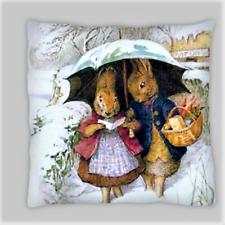 Beatrix Potter estilo Peter Rabbit Mezcla Lino Doble Cara Cushion Covers 18X18