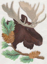 Moose In Pine Trees Set Of 2 Bath Hand Towels Embroidered By Laura