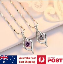 SIMULATED DIAMOND STERLING SILVER PENDANT WITH FREE SILVER NECKLACE Art Deco AAA