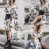ZANZEA Womens Summer Floral Long Sleeve Split Shirt Dress Beach Party Wrap Dress