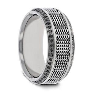 Men's Steel Chain Titanium Band Beveled Edges with Black Diamonds - 10mm