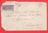 ITALIA REGNO coppia 50c. Vitt Em.III su lettera 1907 da Roma a Munchen