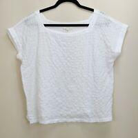 Eileen Fisher Medium Top White Organic Cotton Grid Pattern Voile Popover Boxy