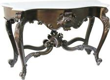 Solid Mahogany Shell Console Table With Marble Top Antique Reproduction T034