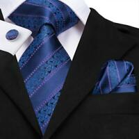 Novelty Blue Striped Paisley Men's Tie Silk Necktie Set Hanky Cuff links Wedding