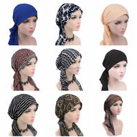 Women Head Scarf Chemo Hat Turban Pre-Tied Headwear Bandana Tichel  Cancer